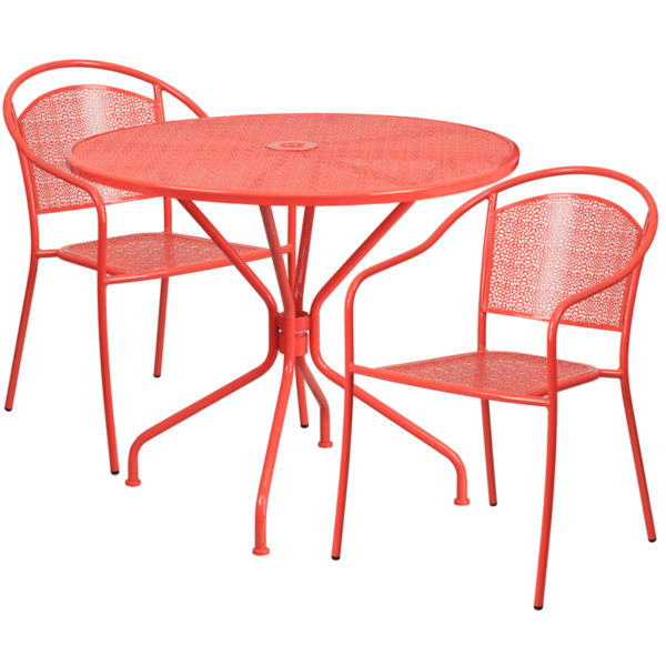 Wholesale 35.25'' Round Coral Indoor-Outdoor Steel Patio Table Set with 2 Round Back Chairs