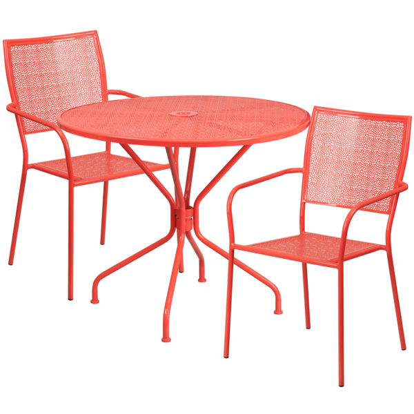 Wholesale 35.25'' Round Coral Indoor-Outdoor Steel Patio Table Set with 2 Square Back Chairs
