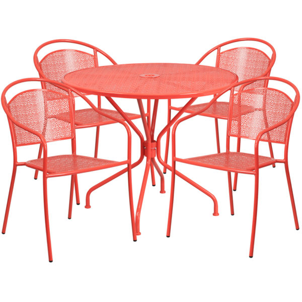 Wholesale 35.25'' Round Coral Indoor-Outdoor Steel Patio Table Set with 4 Round Back Chairs