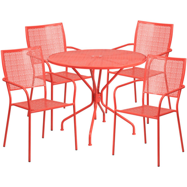 Wholesale 35.25'' Round Coral Indoor-Outdoor Steel Patio Table Set with 4 Square Back Chairs