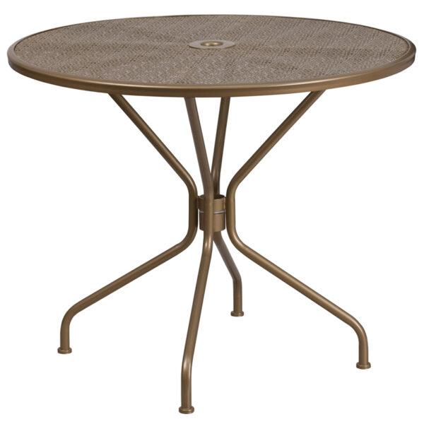 Wholesale 35.25'' Round Gold Indoor-Outdoor Steel Patio Table