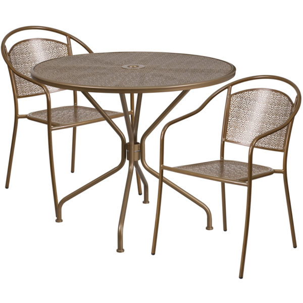 Wholesale 35.25'' Round Gold Indoor-Outdoor Steel Patio Table Set with 2 Round Back Chairs