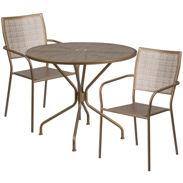 Wholesale 35.25'' Round Gold Indoor-Outdoor Steel Patio Table Set with 2 Square Back Chairs