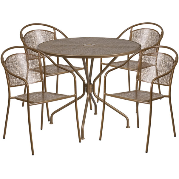 Wholesale 35.25'' Round Gold Indoor-Outdoor Steel Patio Table Set with 4 Round Back Chairs