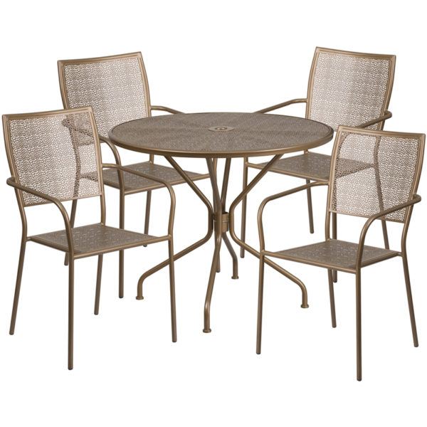 Wholesale 35.25'' Round Gold Indoor-Outdoor Steel Patio Table Set with 4 Square Back Chairs