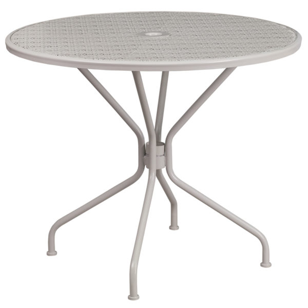 Wholesale 35.25'' Round Light Gray Indoor-Outdoor Steel Patio Table