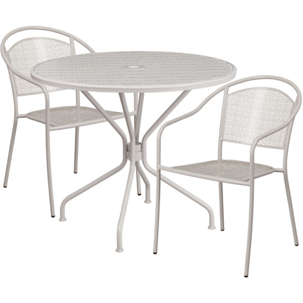 Wholesale 35.25'' Round Light Gray Indoor-Outdoor Steel Patio Table Set with 2 Round Back Chairs
