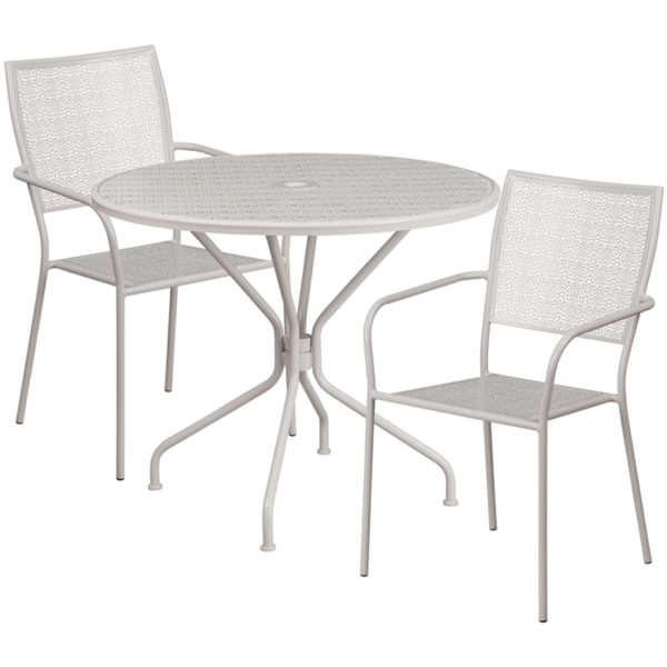 Wholesale 35.25'' Round Light Gray Indoor-Outdoor Steel Patio Table Set with 2 Square Back Chairs