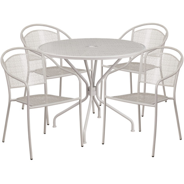 Wholesale 35.25'' Round Light Gray Indoor-Outdoor Steel Patio Table Set with 4 Round Back Chairs