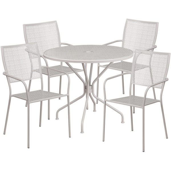 Wholesale 35.25'' Round Light Gray Indoor-Outdoor Steel Patio Table Set with 4 Square Back Chairs