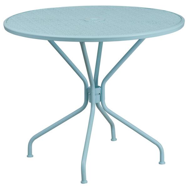 Wholesale 35.25'' Round Sky Blue Indoor-Outdoor Steel Patio Table