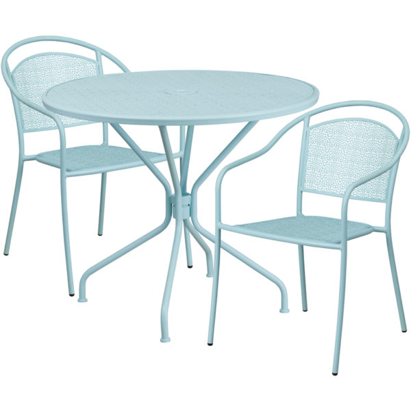 Wholesale 35.25'' Round Sky Blue Indoor-Outdoor Steel Patio Table Set with 2 Round Back Chairs