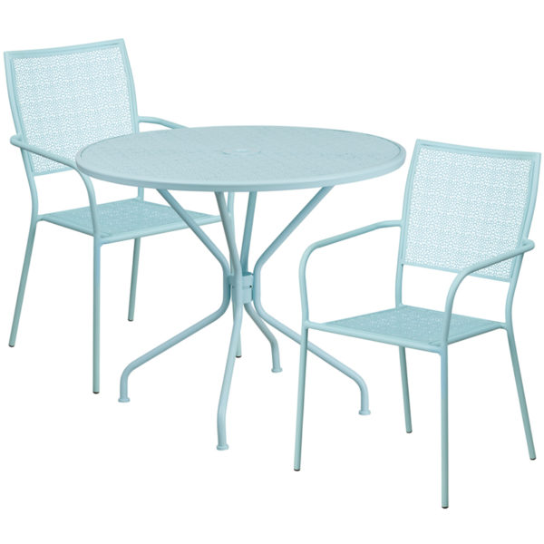 Wholesale 35.25'' Round Sky Blue Indoor-Outdoor Steel Patio Table Set with 2 Square Back Chairs