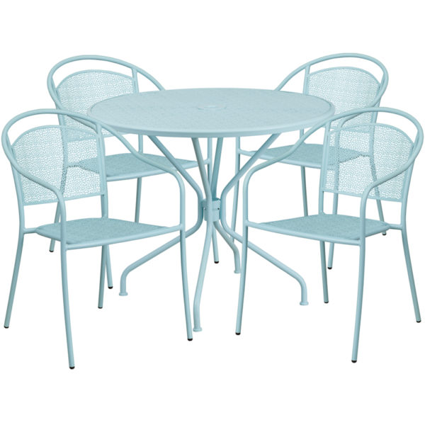 Wholesale 35.25'' Round Sky Blue Indoor-Outdoor Steel Patio Table Set with 4 Round Back Chairs