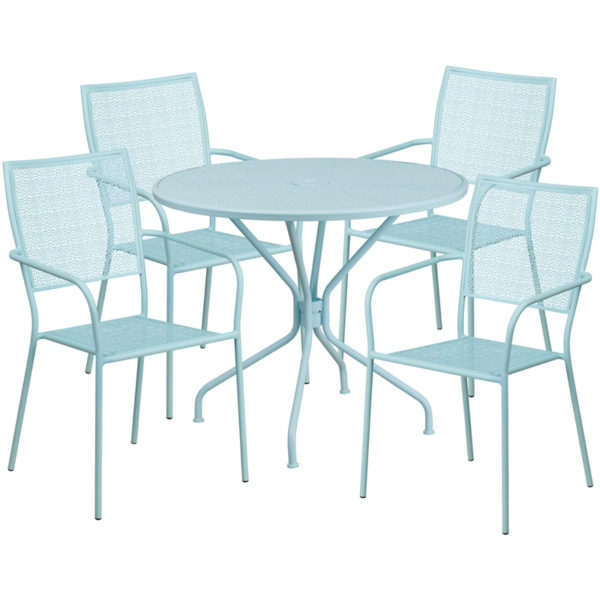 Wholesale 35.25'' Round Sky Blue Indoor-Outdoor Steel Patio Table Set with 4 Square Back Chairs