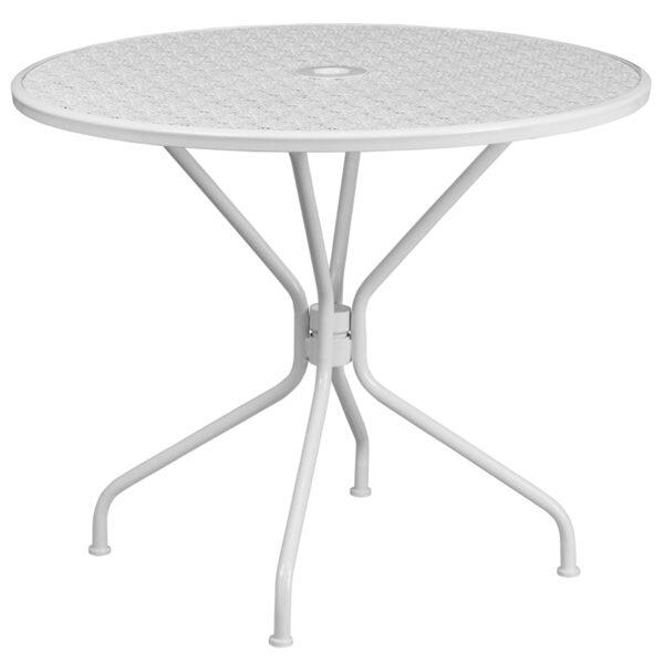 Wholesale 35.25'' Round White Indoor-Outdoor Steel Patio Table