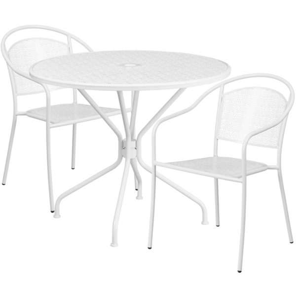 Wholesale 35.25'' Round White Indoor-Outdoor Steel Patio Table Set with 2 Round Back Chairs