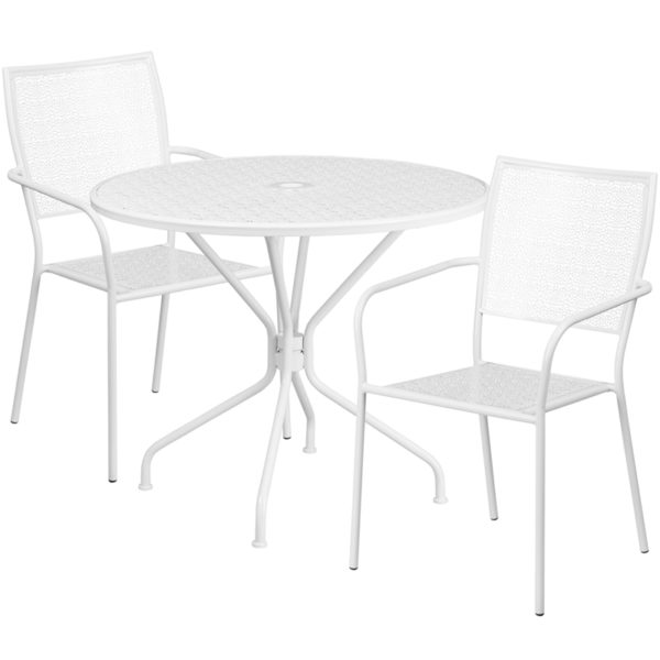 Wholesale 35.25'' Round White Indoor-Outdoor Steel Patio Table Set with 2 Square Back Chairs