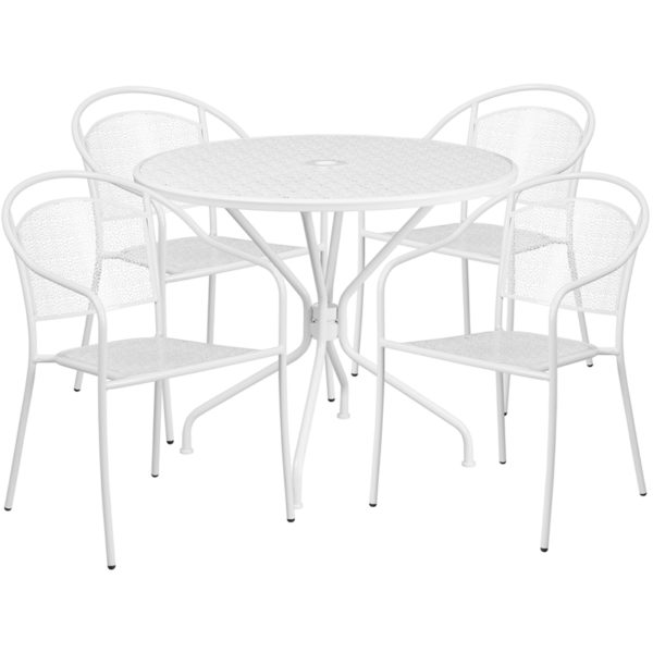 Wholesale 35.25'' Round White Indoor-Outdoor Steel Patio Table Set with 4 Round Back Chairs