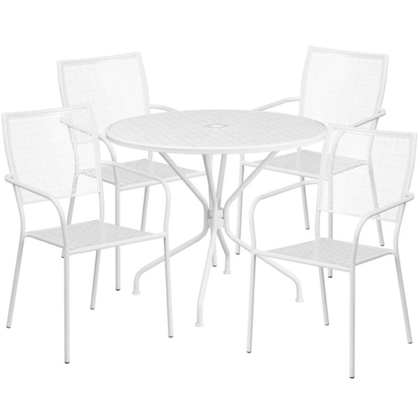 Wholesale 35.25'' Round White Indoor-Outdoor Steel Patio Table Set with 4 Square Back Chairs