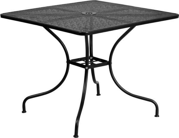Wholesale 35.5'' Square Black Indoor-Outdoor Steel Patio Table