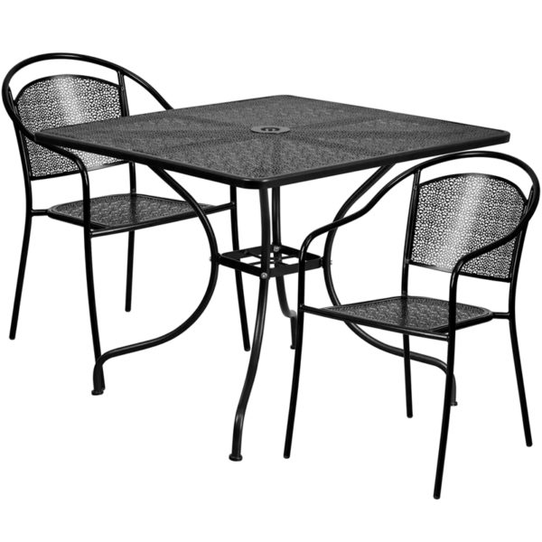 Wholesale 35.5'' Square Black Indoor-Outdoor Steel Patio Table Set with 2 Round Back Chairs