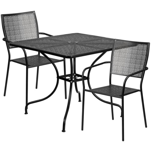 Wholesale 35.5'' Square Black Indoor-Outdoor Steel Patio Table Set with 2 Square Back Chairs