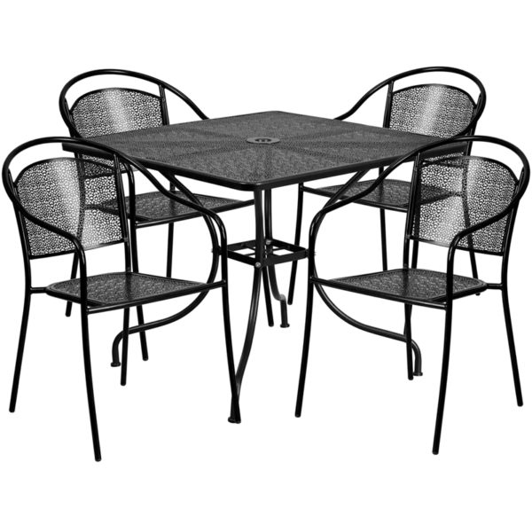 Wholesale 35.5'' Square Black Indoor-Outdoor Steel Patio Table Set with 4 Round Back Chairs