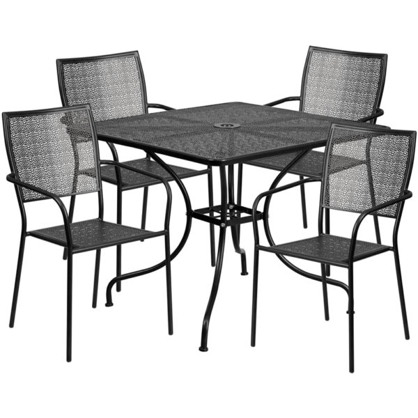 Wholesale 35.5'' Square Black Indoor-Outdoor Steel Patio Table Set with 4 Square Back Chairs