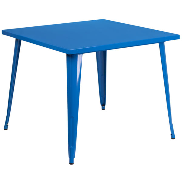 Wholesale 35.5'' Square Blue Metal Indoor-Outdoor Table