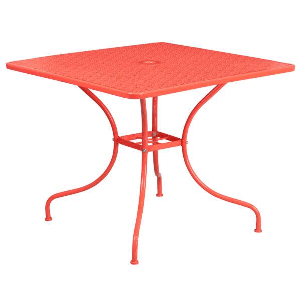 Wholesale 35.5'' Square Coral Indoor-Outdoor Steel Patio Table