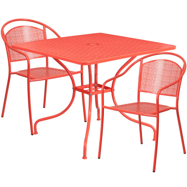 Wholesale 35.5'' Square Coral Indoor-Outdoor Steel Patio Table Set with 2 Round Back Chairs