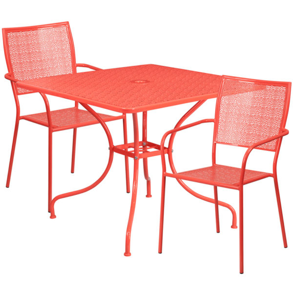 Wholesale 35.5'' Square Coral Indoor-Outdoor Steel Patio Table Set with 2 Square Back Chairs