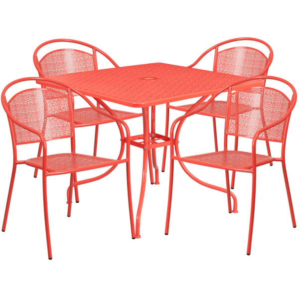 Wholesale 35.5'' Square Coral Indoor-Outdoor Steel Patio Table Set with 4 Round Back Chairs