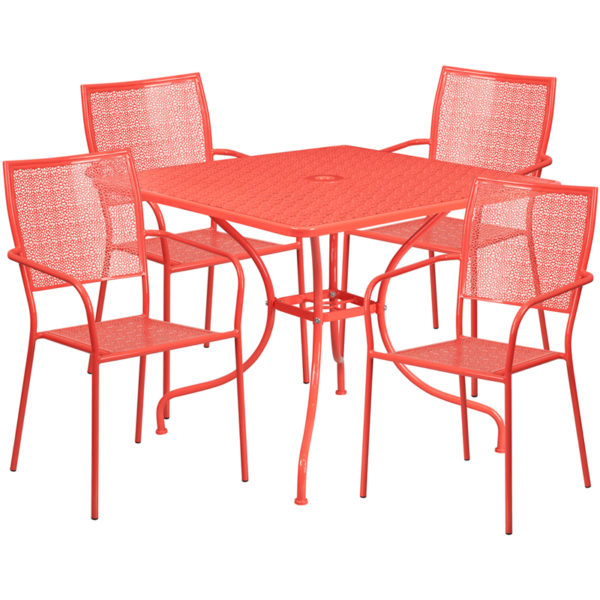 Wholesale 35.5'' Square Coral Indoor-Outdoor Steel Patio Table Set with 4 Square Back Chairs