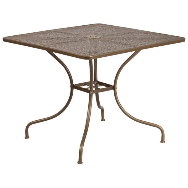 Wholesale 35.5'' Square Gold Indoor-Outdoor Steel Patio Table