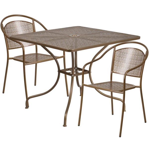 Wholesale 35.5'' Square Gold Indoor-Outdoor Steel Patio Table Set with 2 Round Back Chairs