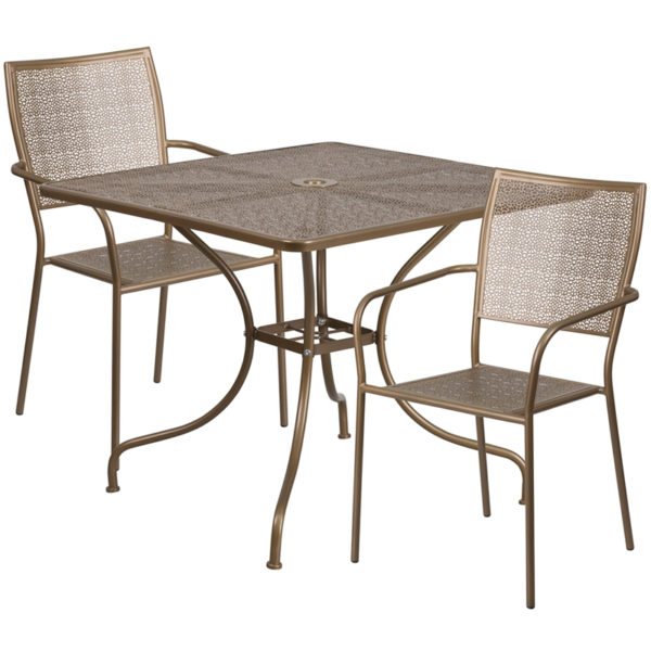 Wholesale 35.5'' Square Gold Indoor-Outdoor Steel Patio Table Set with 2 Square Back Chairs