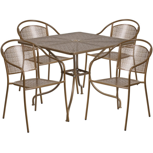 Wholesale 35.5'' Square Gold Indoor-Outdoor Steel Patio Table Set with 4 Round Back Chairs