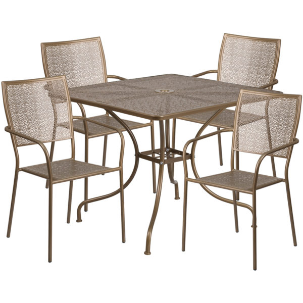 Wholesale 35.5'' Square Gold Indoor-Outdoor Steel Patio Table Set with 4 Square Back Chairs