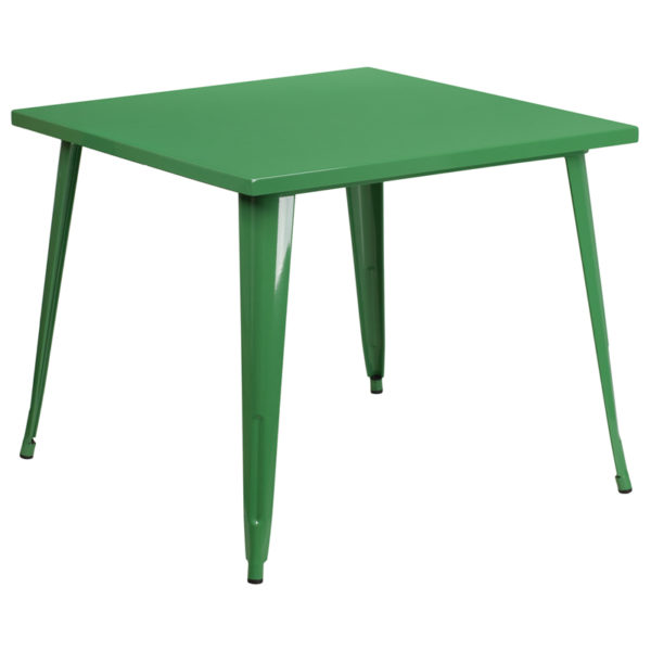 Wholesale 35.5'' Square Green Metal Indoor-Outdoor Table