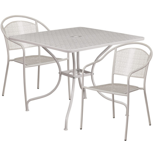 Wholesale 35.5'' Square Light Gray Indoor-Outdoor Steel Patio Table Set with 2 Round Back Chairs