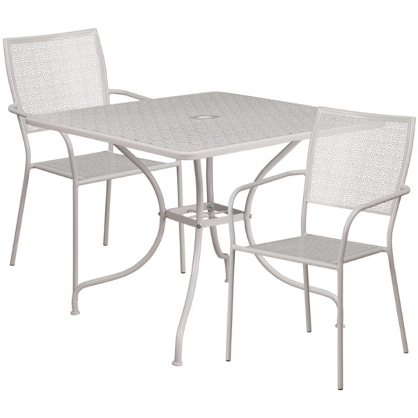 Wholesale 35.5'' Square Light Gray Indoor-Outdoor Steel Patio Table Set with 2 Square Back Chairs