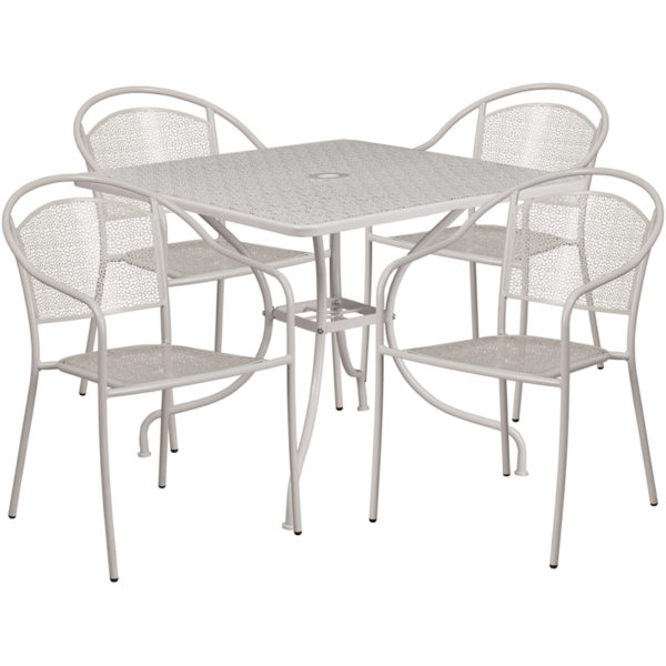 Wholesale 35.5'' Square Light Gray Indoor-Outdoor Steel Patio Table Set with 4 Round Back Chairs