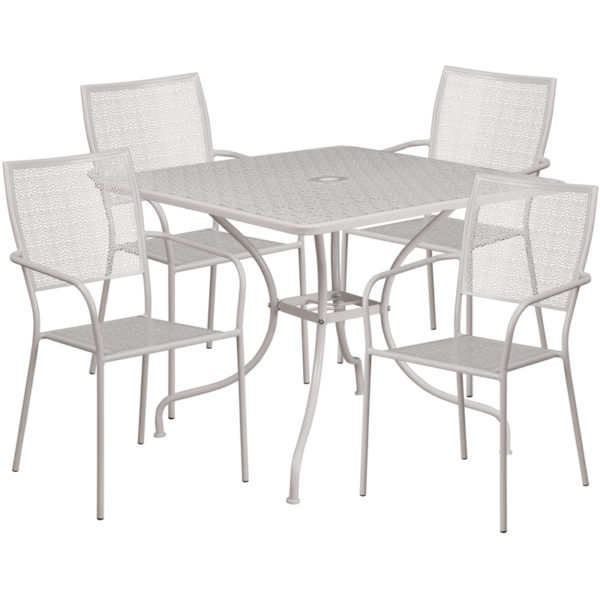 Wholesale 35.5'' Square Light Gray Indoor-Outdoor Steel Patio Table Set with 4 Square Back Chairs