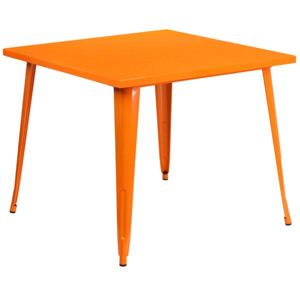 Wholesale 35.5'' Square Orange Metal Indoor-Outdoor Table