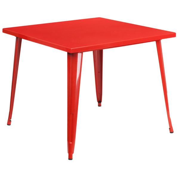 Wholesale 35.5'' Square Red Metal Indoor-Outdoor Table