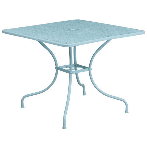 Wholesale 35.5'' Square Sky Blue Indoor-Outdoor Steel Patio Table