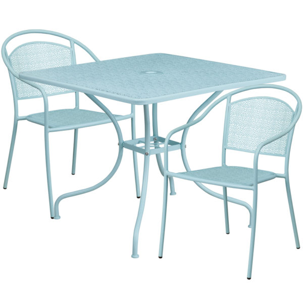 Wholesale 35.5'' Square Sky Blue Indoor-Outdoor Steel Patio Table Set with 2 Round Back Chairs
