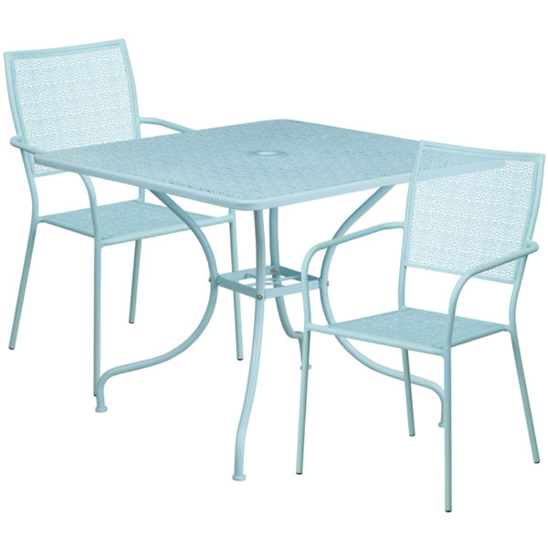 Wholesale 35.5'' Square Sky Blue Indoor-Outdoor Steel Patio Table Set with 2 Square Back Chairs